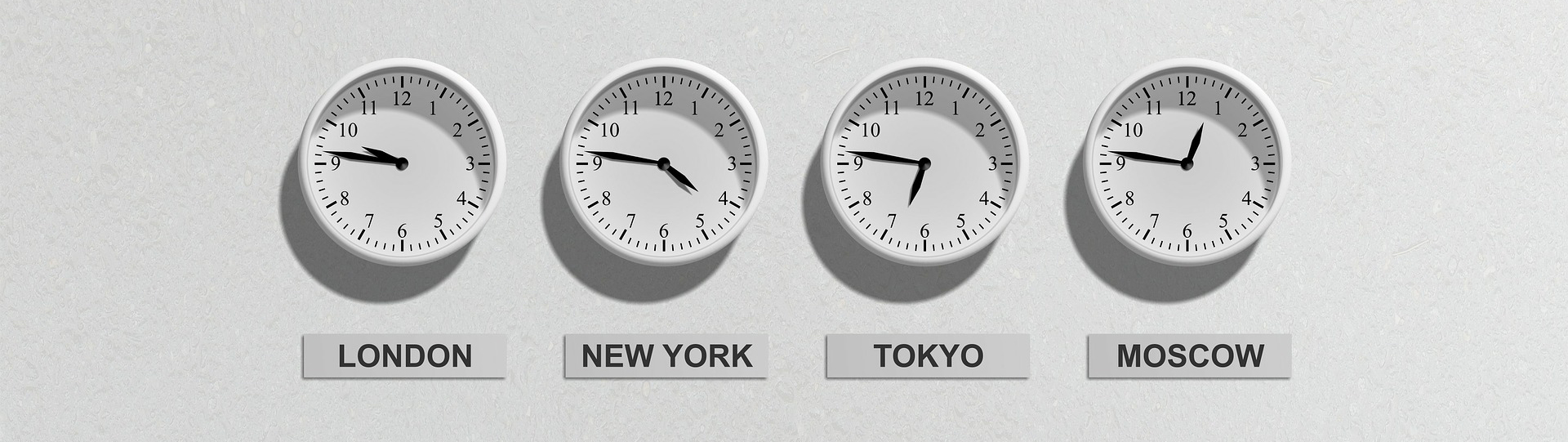 Image of clocks showing international time zones.