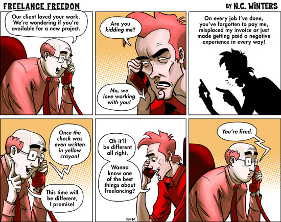 Comic where client is fired by their freelancer for not paying on time in the past.