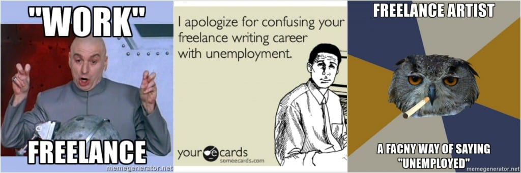 Series of memes suggesting freelancing is the same as unemployment.