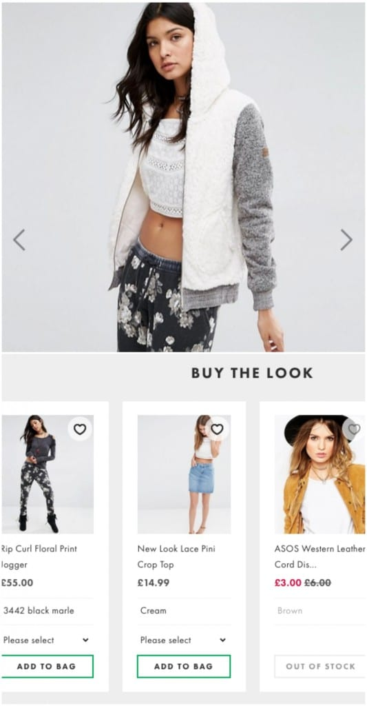 ASOS photo shows woman wearing a jacket, but also other garments. Bottom half of image shows their 'buy the look' feature which showcases these other clothes.