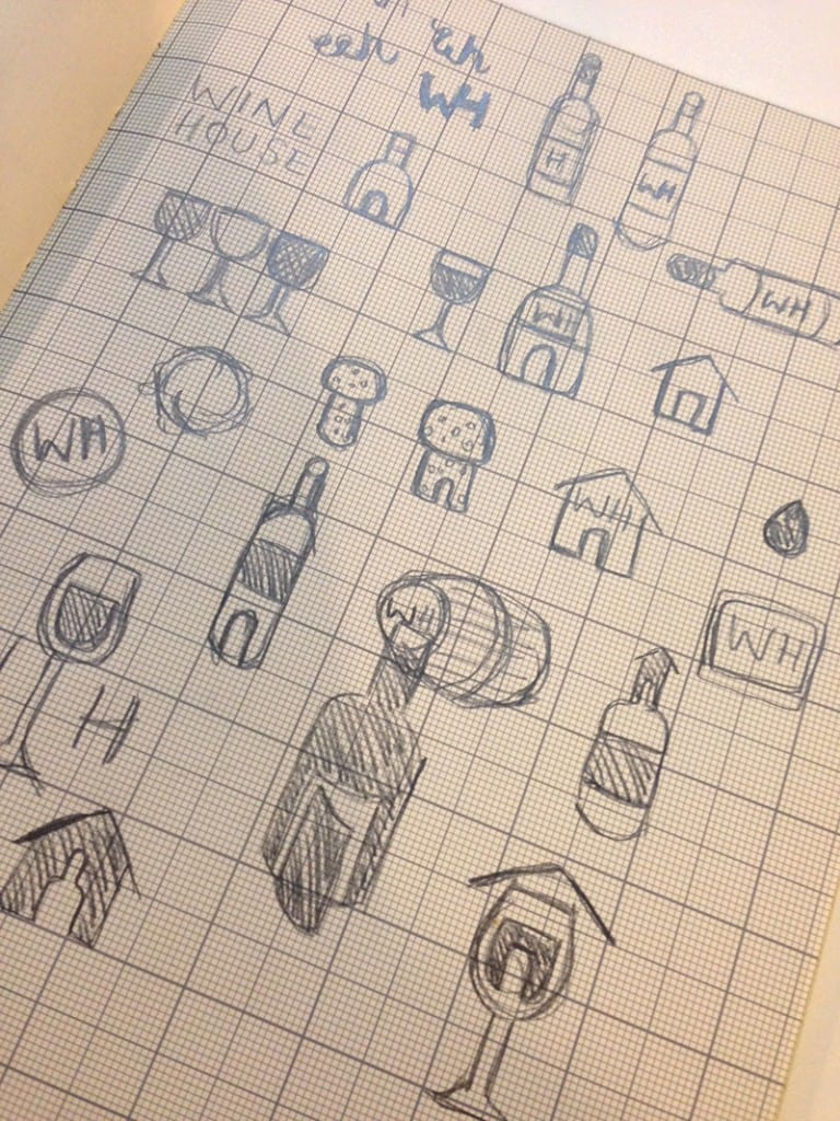 Initial sketches for logo ideas.