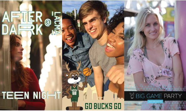 Snapchat geofilters for 'After Dark', 'Go Bucks Go' and 'Big Game Party'.