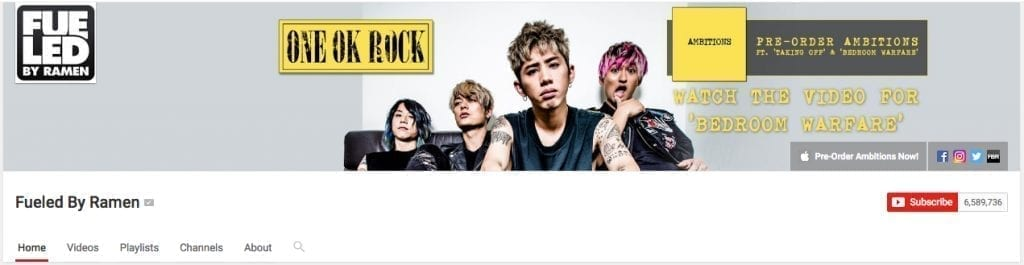 Youtube banner for Fueled by Ramen record label.
