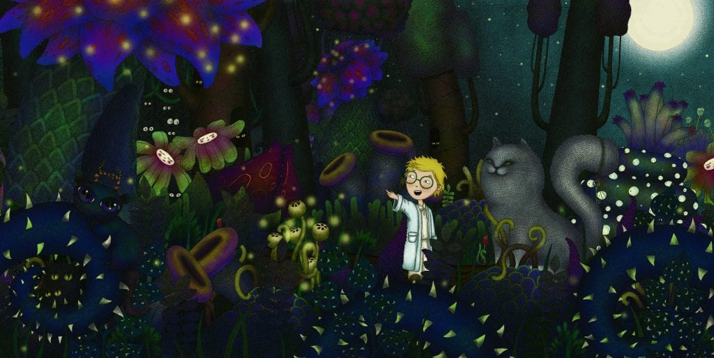 'King of the Night' illustration - boy and cat stand in forest surrounded by bright flowers in the moonlight.