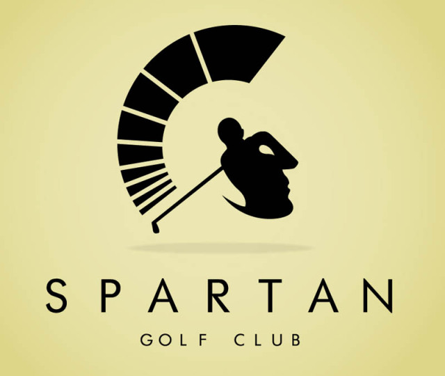 Spartan golf club logo - visual double entendre where the logo looks like a Roman helmet and a man swinging a golf club at the same time.