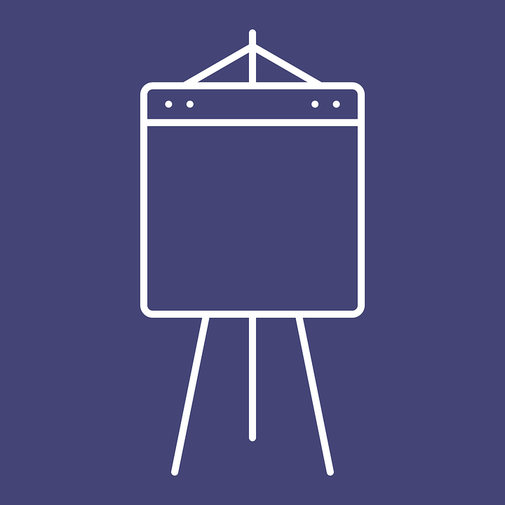 Simple white line illustration of a whiteboard against a dark blue background.