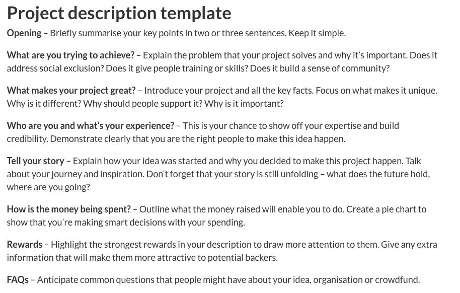 Crowdfunder project description template.