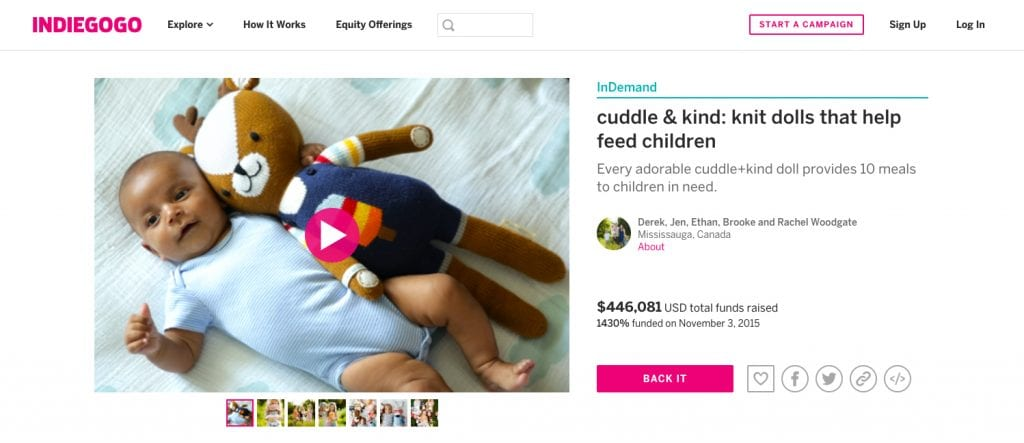 Cuddle and Kind's campaign page uses a wide range of crowdfunding graphics and photos.