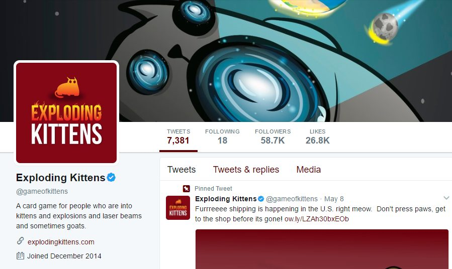 Screenshot of Exploding Kittens' Twitter page, which was launched in December 2014, before their Kickstarter campaign went live.