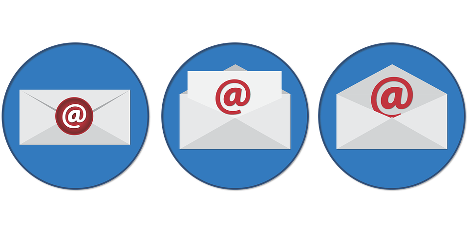 3 blue circle icons containing email 'envelopes' with @ signs on them. Email outreach is essential to achieving crowdfunding success.
