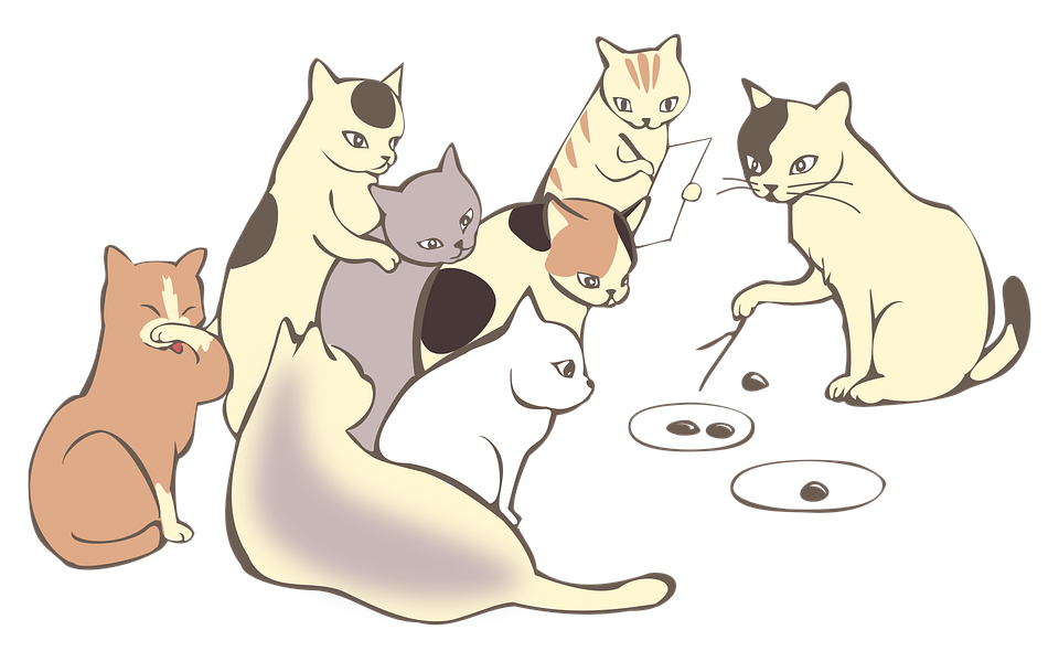 Illustration of cats having a meeting. Meetings and bureaucracy at creative agencies can eat up a lot of time and can slow down work.