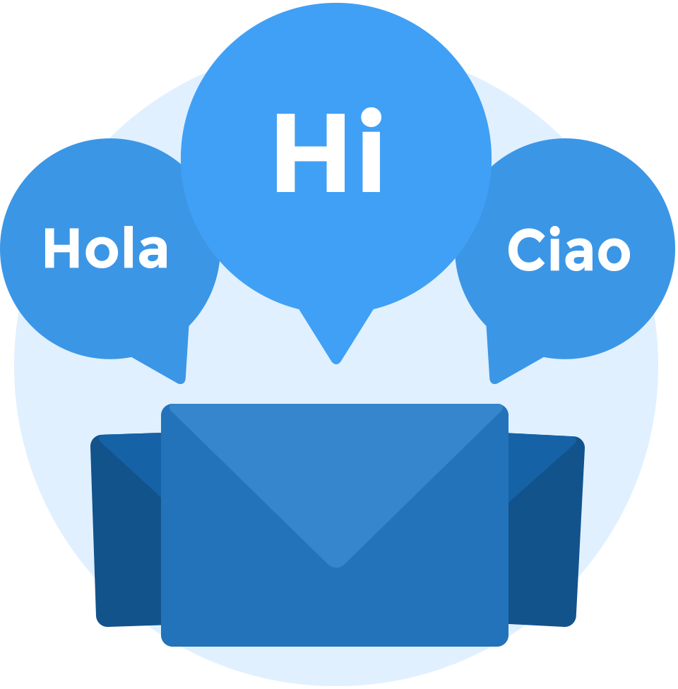 Envelope with 3 speech bubbles saying 'hola', 'hi' and 'ciao' - Twine's messaging system makes communication easy.