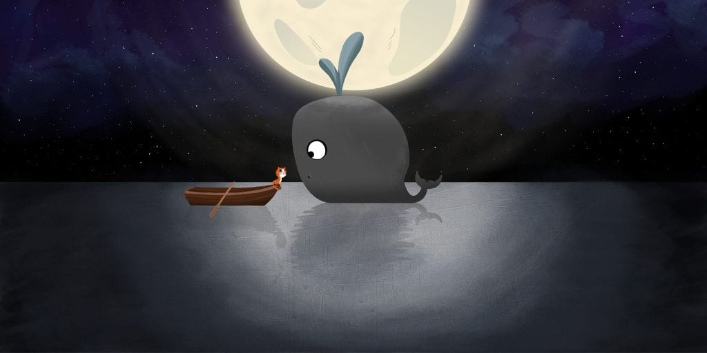 Illustration of a cute whale approaching a rowing boat at sea, with the moon behind.