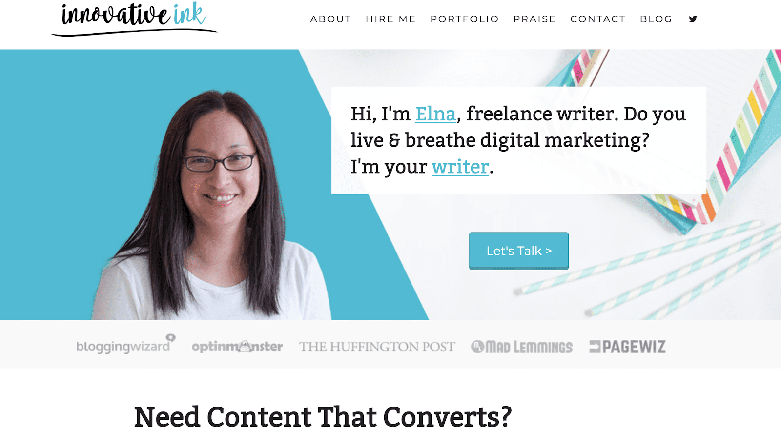 Freelance writer portfolio example with graphic design and imagery