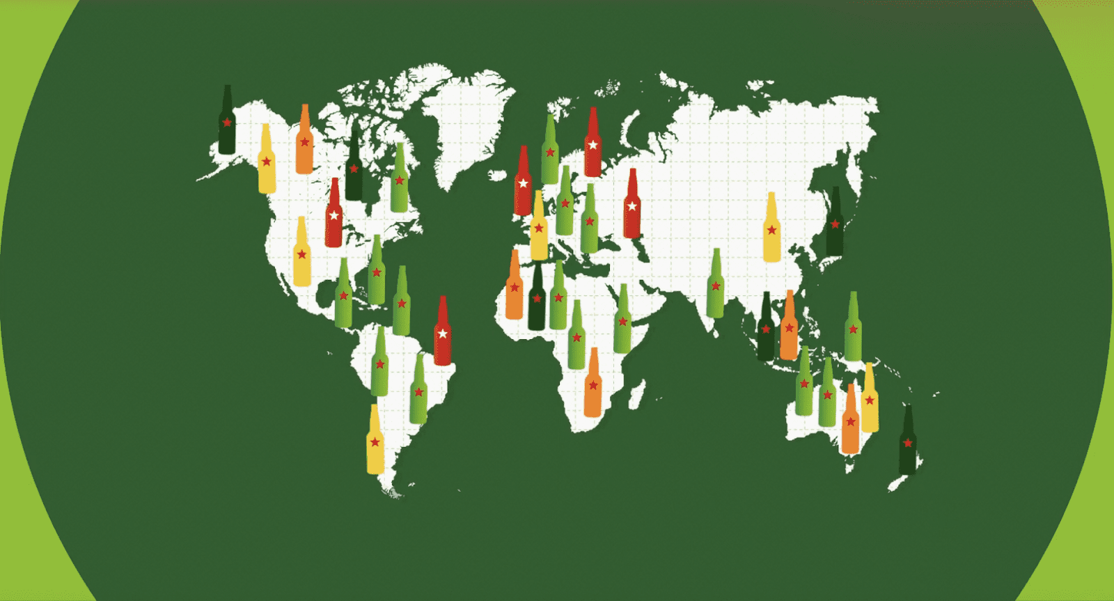 map of the world with multiple small bottles of Heineken positioned on top