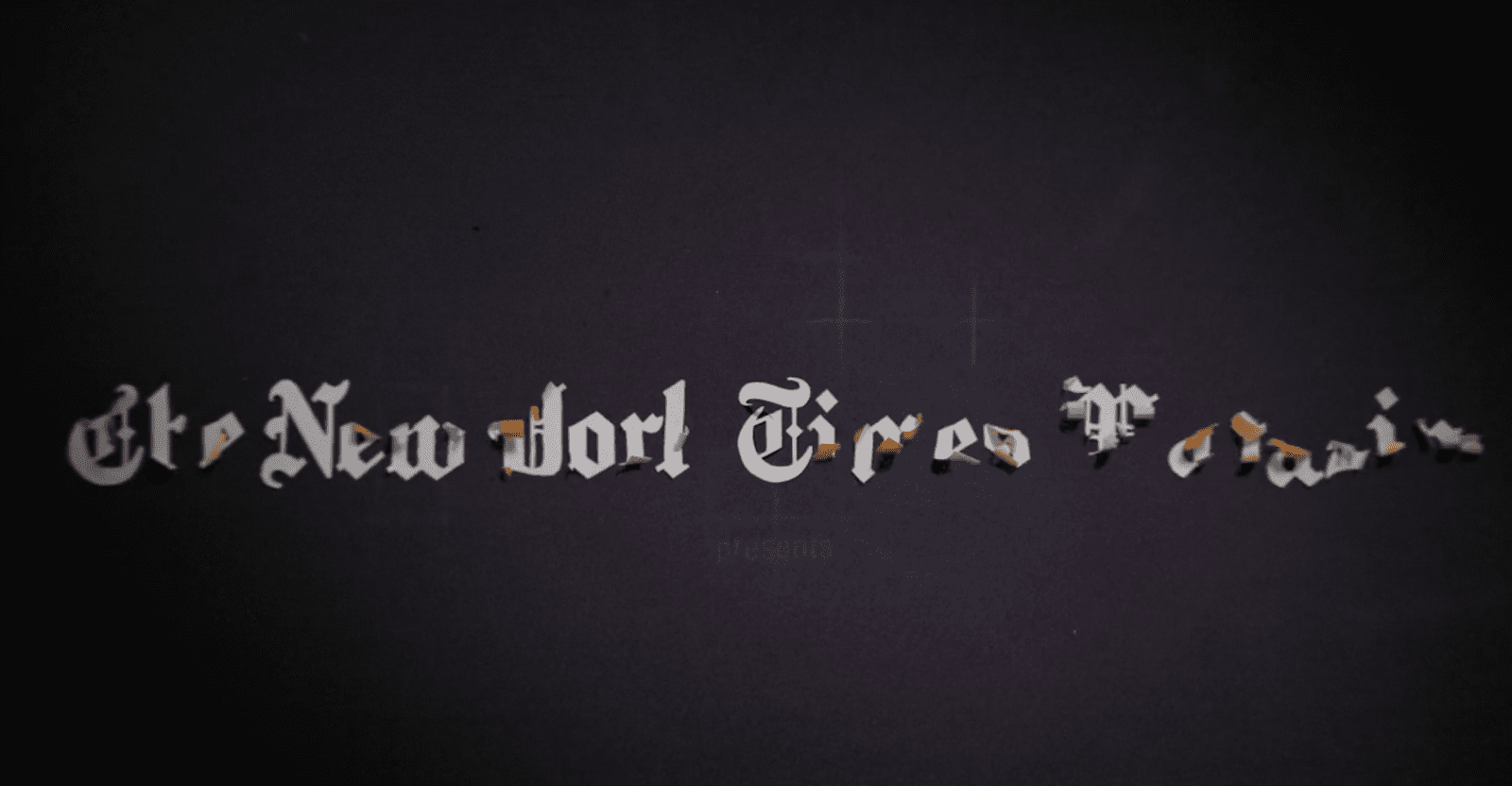multi-coloured New York Times letters displayed on solid black background