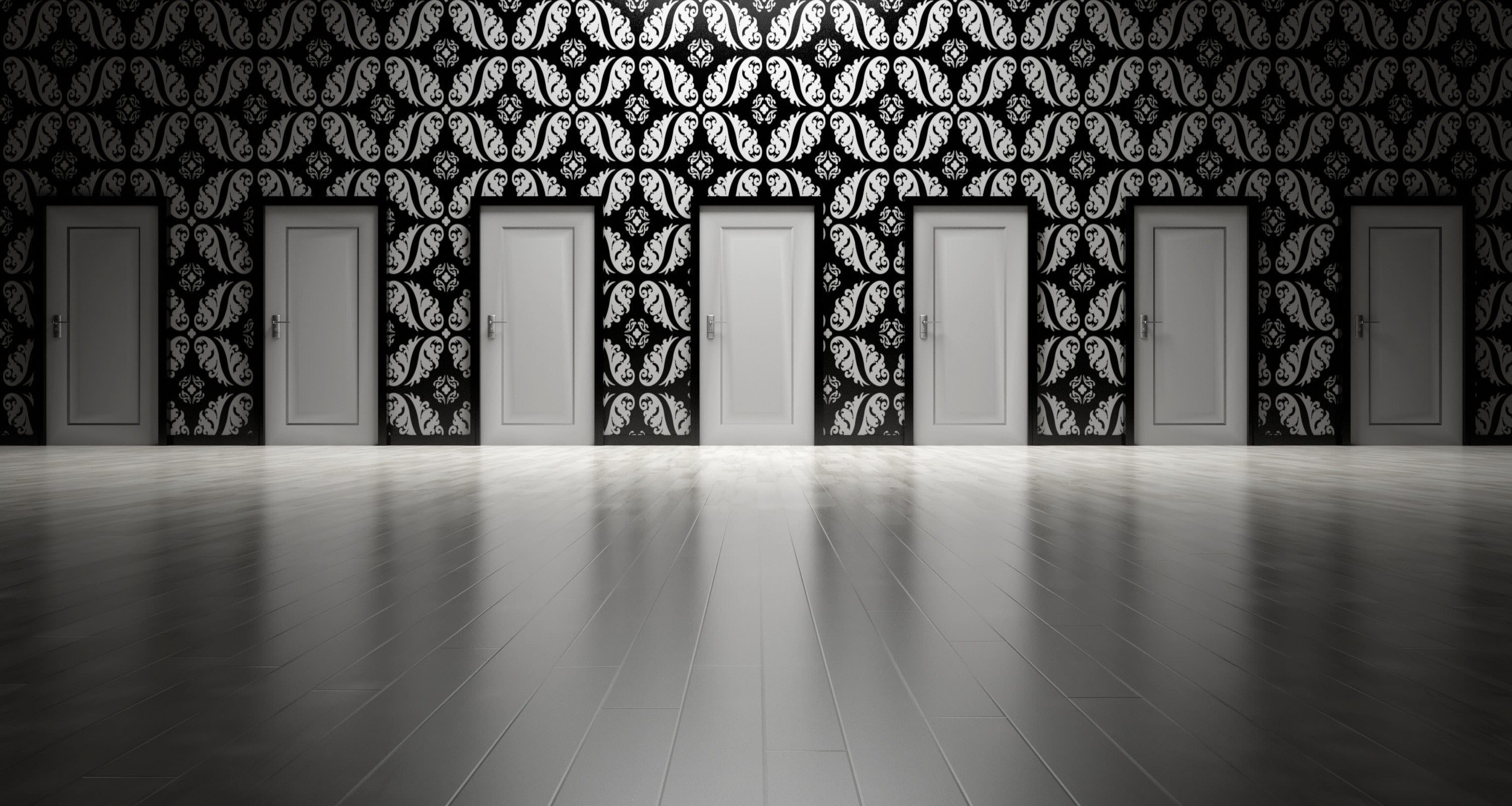 large black and white room full of closed doors