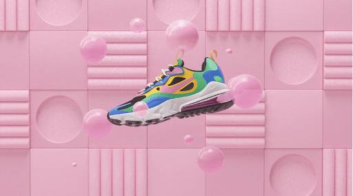 sports shoe displayed on bubblegum pink graphic background