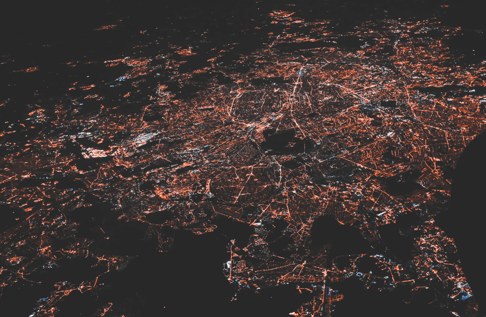 birds eye view shot of cityscape at night