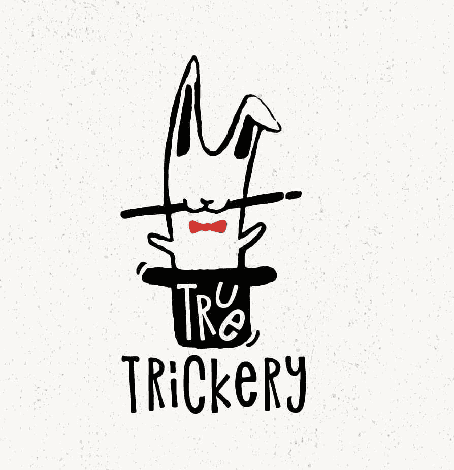 true trickery magician logo example rabbit in a hat