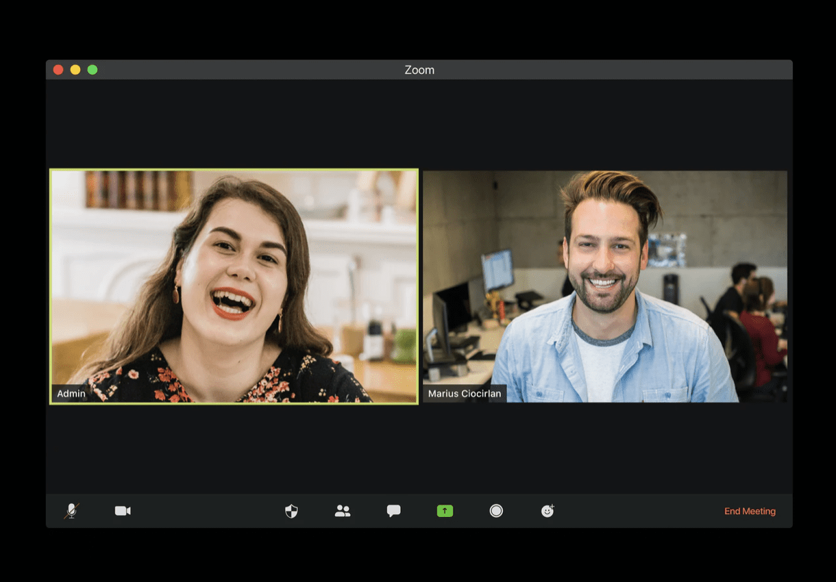 two people on a zoom call discussing their project