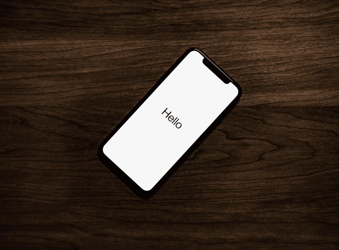 mobile phone screen saying hello