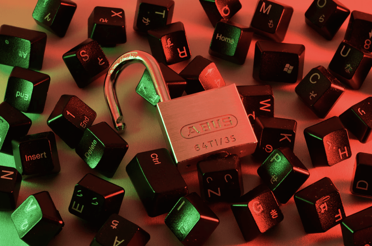 a padlock shown surrounded by keyboard keys