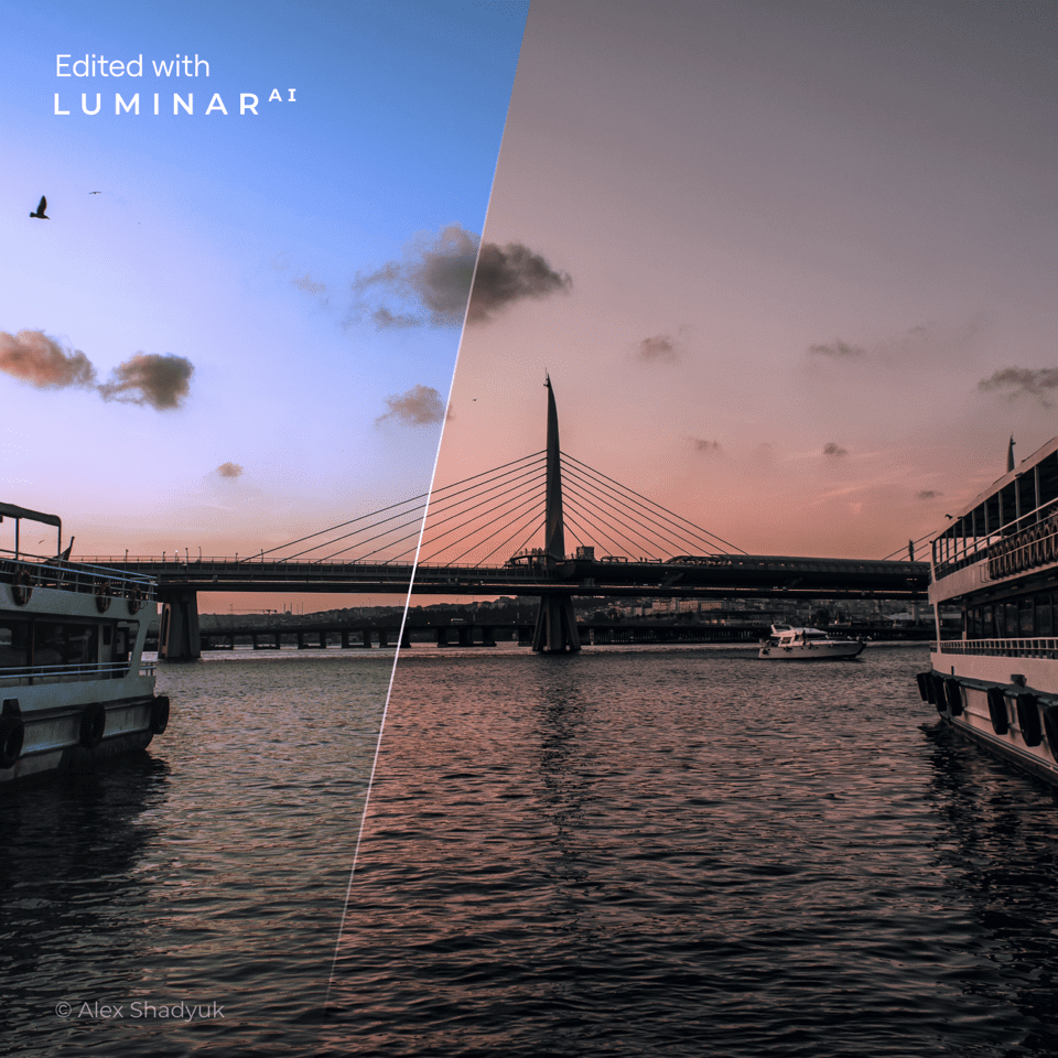 bridge at sunset shown with boats on water around it