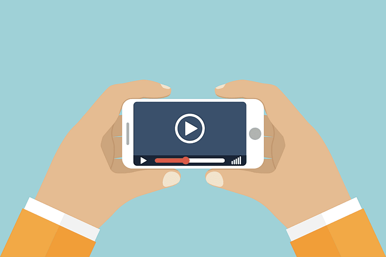 a graphic design of a man holding a phone and playing a video