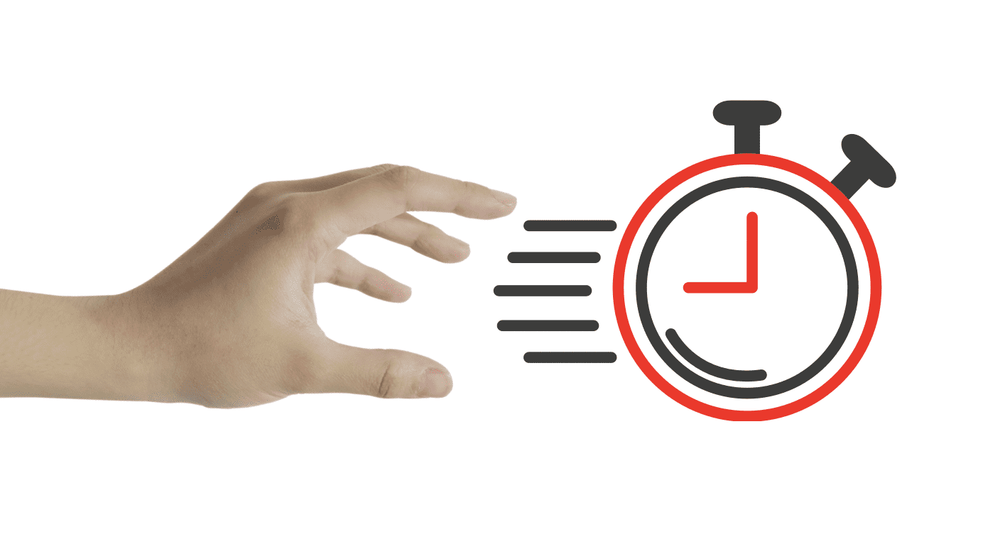 hand chasing a design of a clock