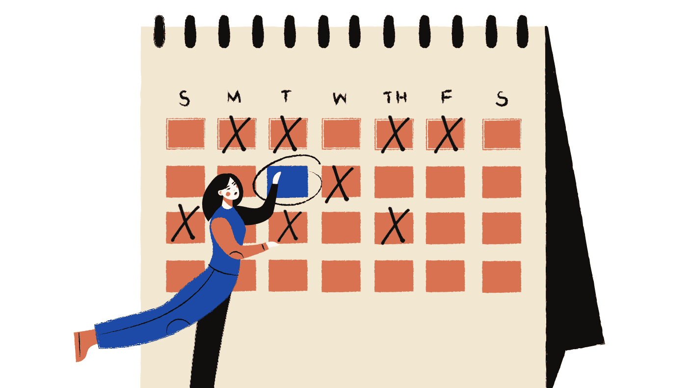 graphic design of character looking to tick off dates in their calendar