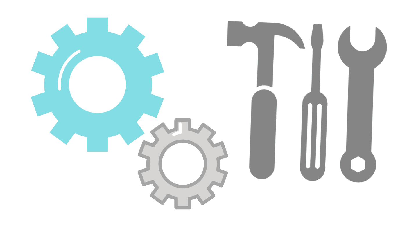 graphic design of tools and cogs