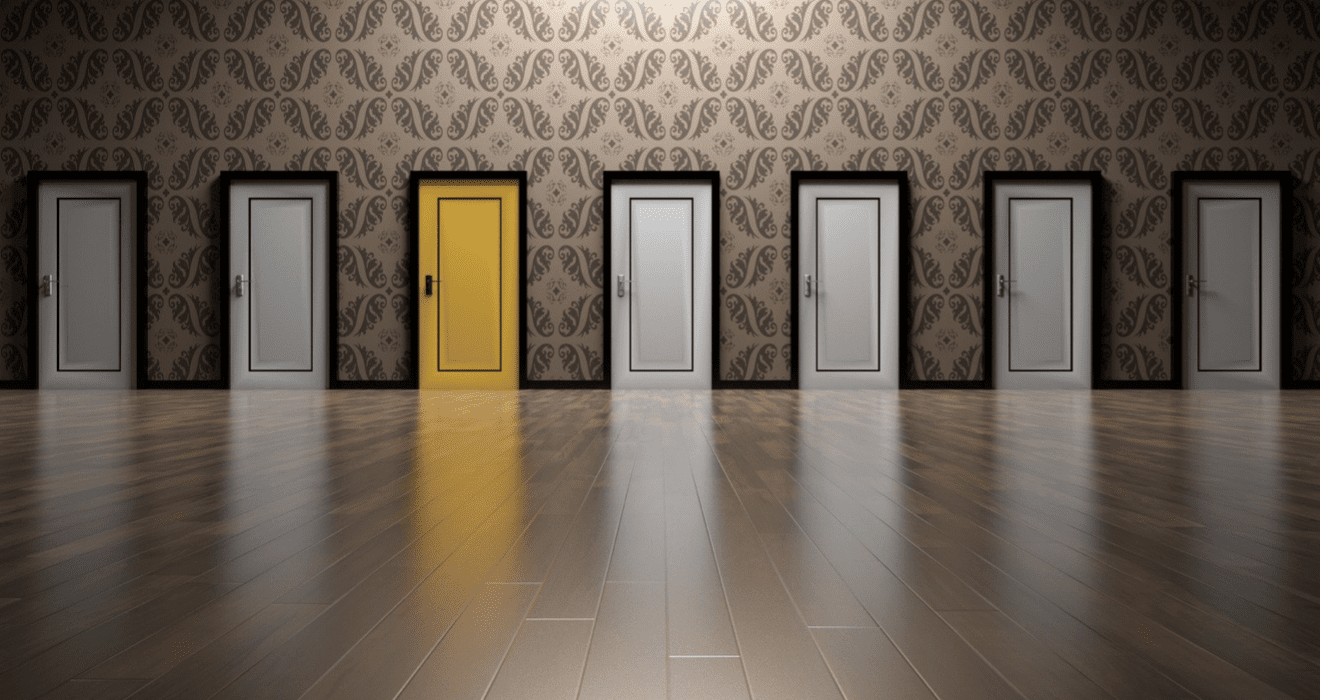 multiple doors showing many different projects that you could choose as a graphic design contractor