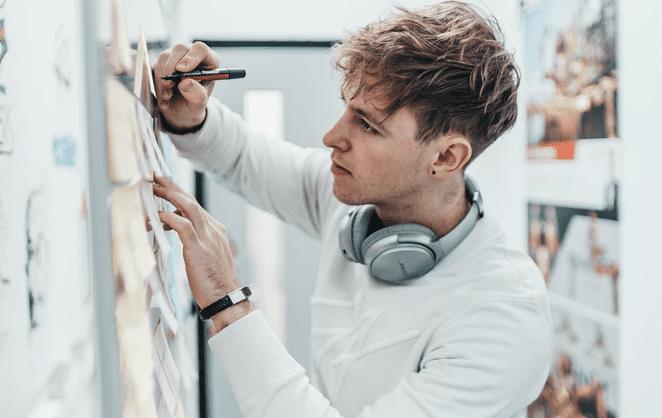 freelancer working on graphic design work