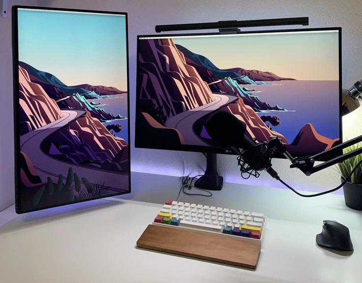 desktop displaying design software for a freelance graphic designer