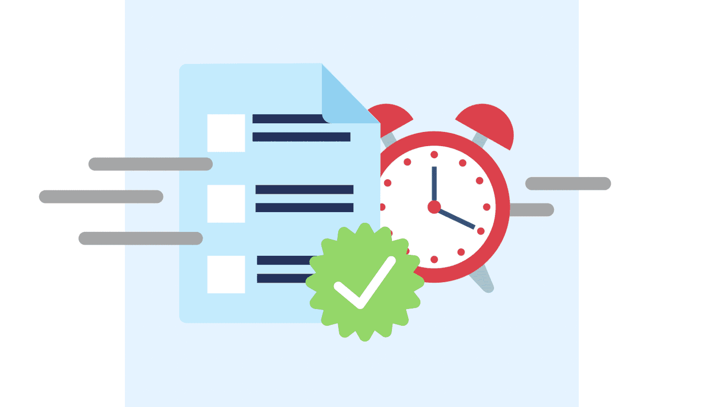 a client creating a trial run for a freelance developer showing a document and a clock