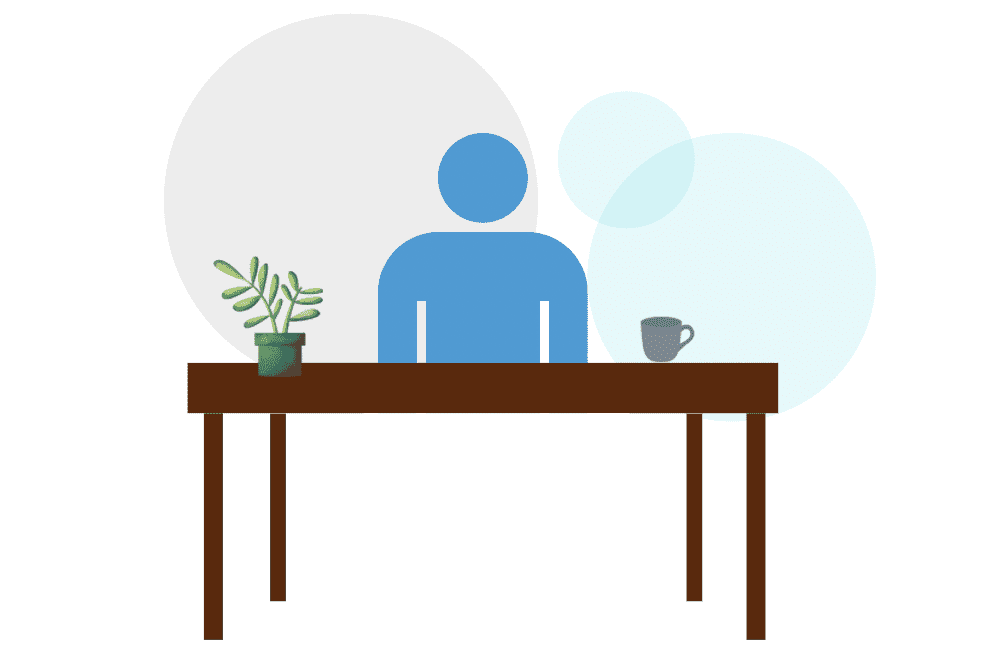 graphc showing interviewer sat at desk