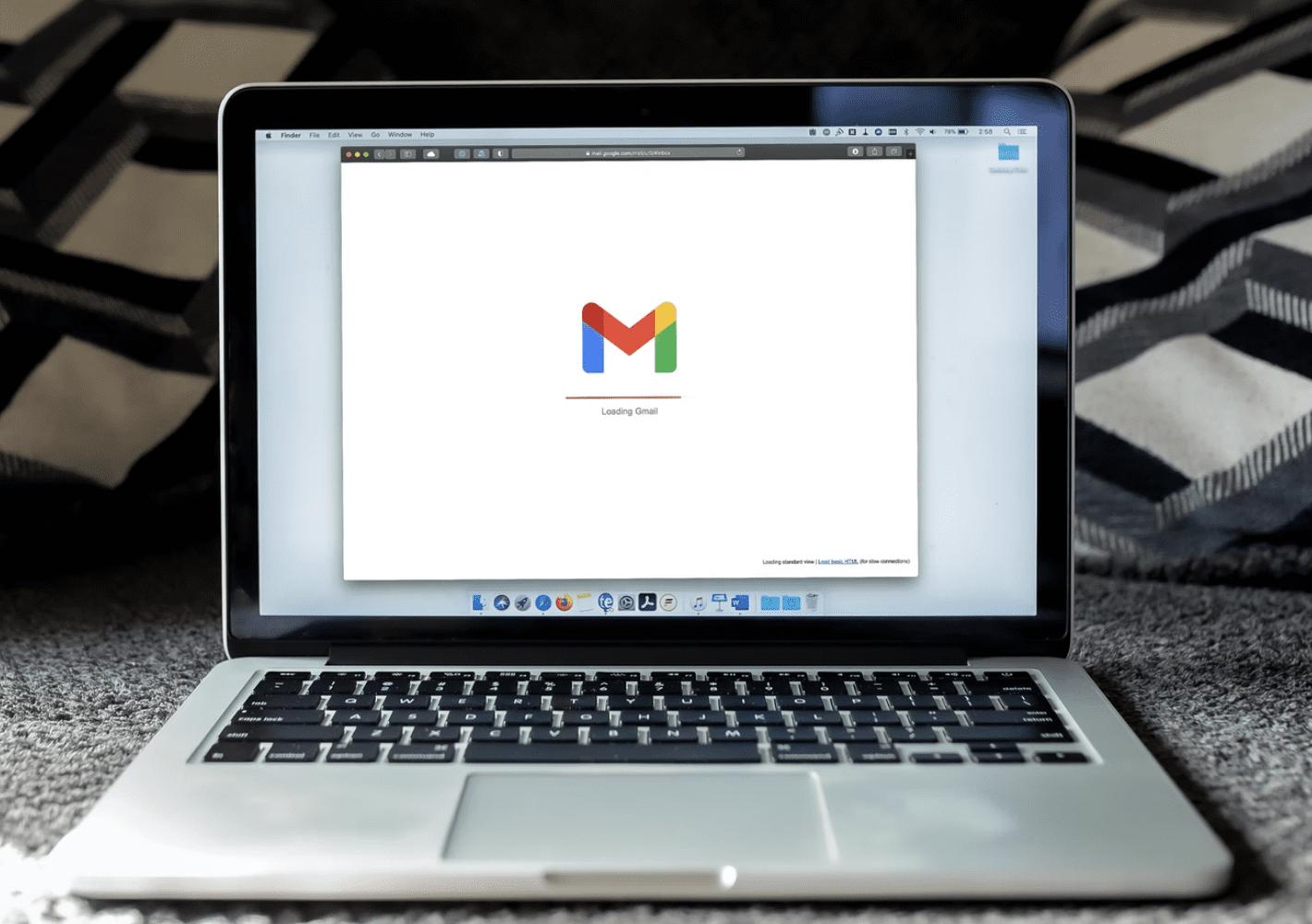 open laptop showing google mail loading screen
